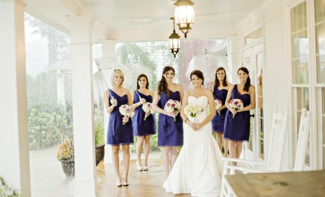 Bridesmaids in Blue Short Dresses