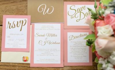 Peach and Gold Wedding Invitations