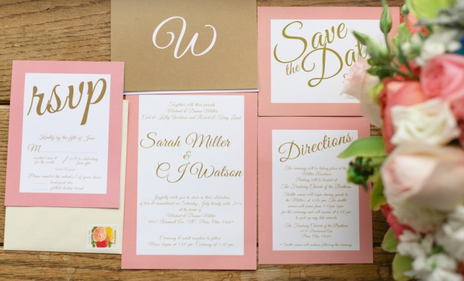 Peach and Gold Wedding Invitations