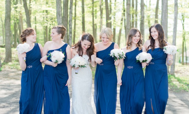 Bridesmaids in Long Navy Blue Dresses