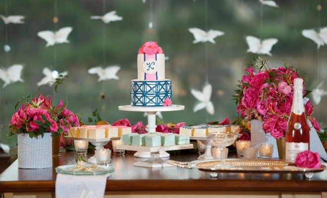 Sweets Table with Wedding Cake and Petit Fours